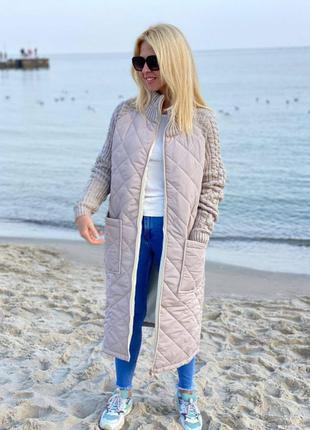 Мега стильная куртка - пальто с вязанными рукавами