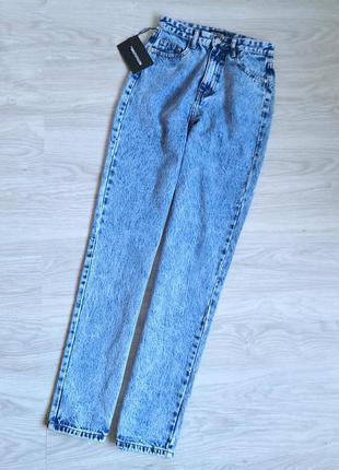 Мраморные голубые высокие плотные джинсы на талию