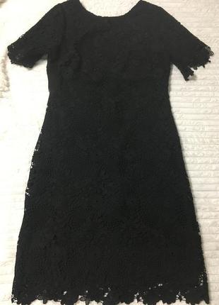 Чёрное платье из дорого кружева р10 tu