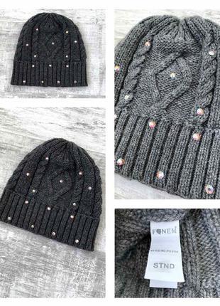 Шерстяная шапка с камнями сваровски