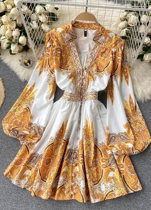 Модное мини платье роскошный принт