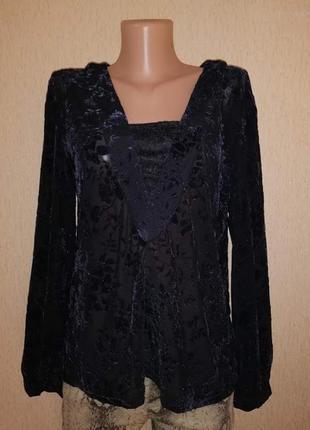 Новая женская кофта, блузка с набивным бархатным, велюровым рисунком love & divine