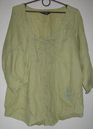 Салатовая блуза лен с вышивкой