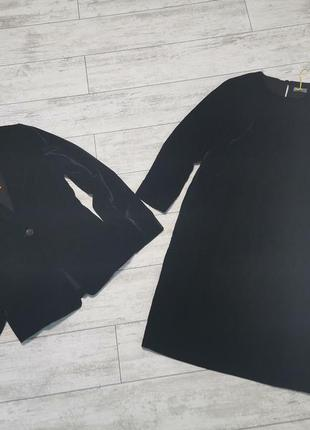 Бархатный черный костюм, платье и жакет
