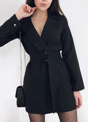 Стильное платье пиджак с поясом