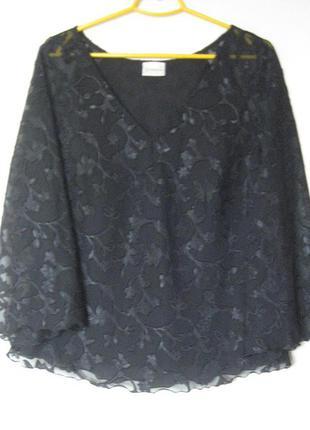 Блуза с широкими рукавами в структурный принт большой размер