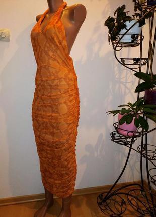 Нерепльное платье макси с откытой спинкой