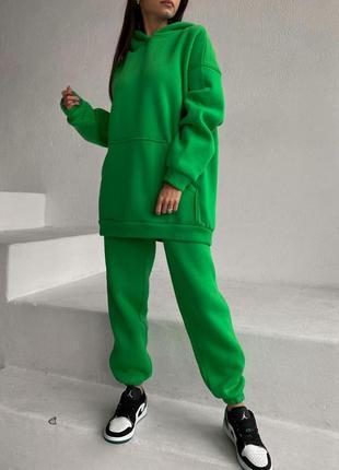 Костюм флис 19 цветов, теплый костюм oversize, флисовый костюм большие размеры (арт 12014)