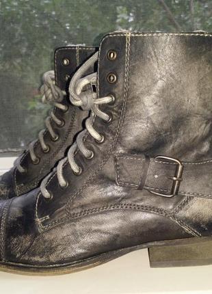 Черные антрацитовые высокие деми ботинки шнуровка берцы в стиле винтаж next натуральная кожа