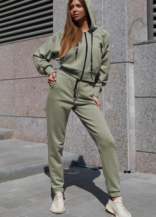 Прогулочный костюм лонг серо-оливковый jadone fashion