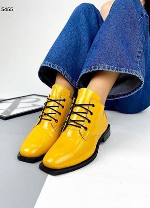 ❤ женские желтые кожаные осенние демисезонные ботинки ботильоны ❤