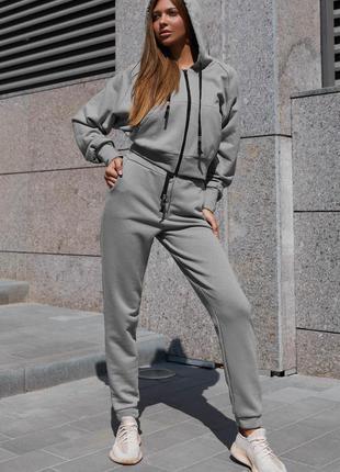 Прогулочный костюм лонг серый jadone fashion