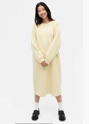 Тёплое платье худи толстовка monki сукня міді толстовка