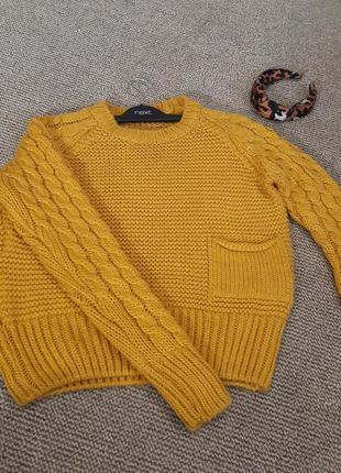 Вязаный свитер желтый