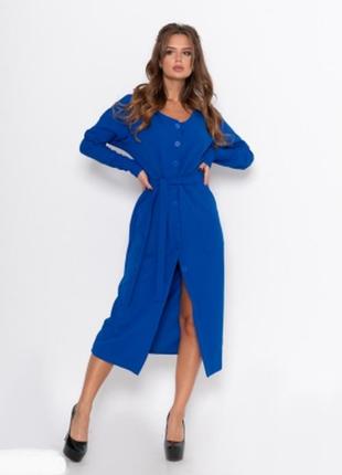 Синее платье рубашка , пояс