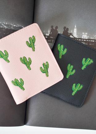 Розовый кошелек | вышивка кактусы 🌵