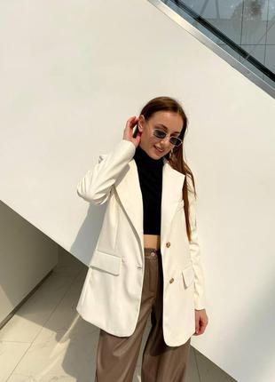 Пиджак с подкладкой и подплечникамм матовая экокожа кожаный жакет удлиненный на пуговицах прямого свободного кроя объемный