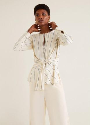Блуза в полоску с широким поясом mango / xs