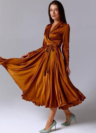 Атласное платье миди на запах  бронзового  цвета с длинными рукавами