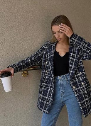 Трендовый жакет в клетку женский пиджак оверсайз