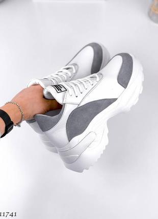 🍁женские кроссовки на платформе в натуральной коже и натуральной замше