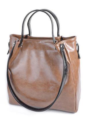 Коричневая деловая сумка шоппер модная женская сумочка с длинными ручками на плечо