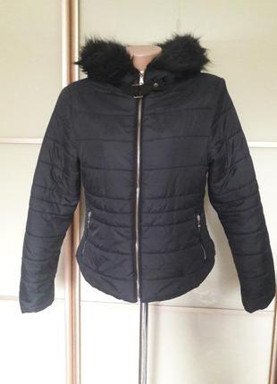Короткая куртка с искусственным мехом new look
