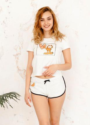 Белая хлопковая пижама футболка с шортами, піжама, комплект для дома