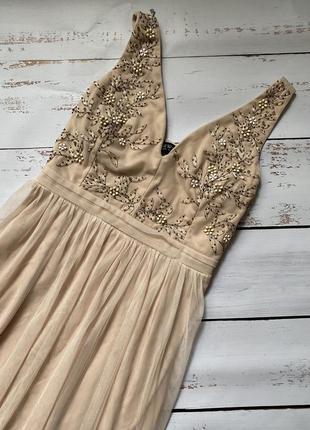 Шикарное платье, нарядное персиковое платье, длинное платье , платье в пол, камушки, стразы