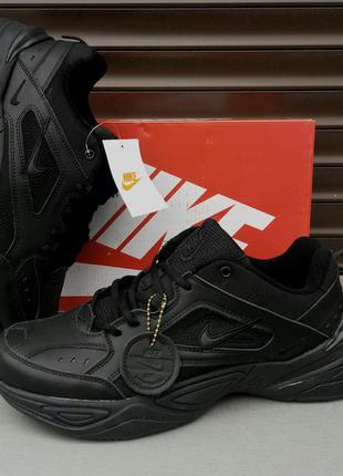 Nike air кроссовки мужские черные кожаные