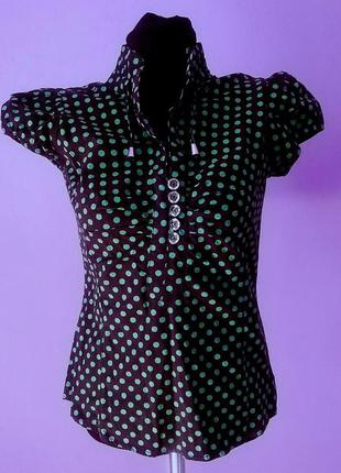 Блузка в зеленый горошек