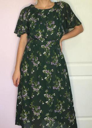Миди платье зелёное в мелкие цветы цветочки