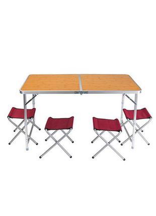 Стіл розкладний для кемпінгу + 4 стільця 120*60*70 коричневий 70422