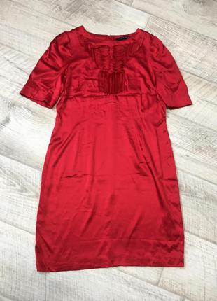 Шикарное миди платье 100% шёлк красное