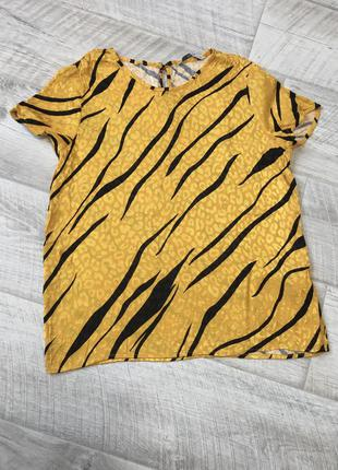Сатиновая желтая блуза 100% вискоза плотная