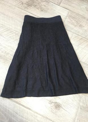 Серая трикотажная юбка трапеция шерсть