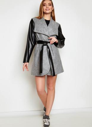 Облегченное пальто отто серый jadone fashion