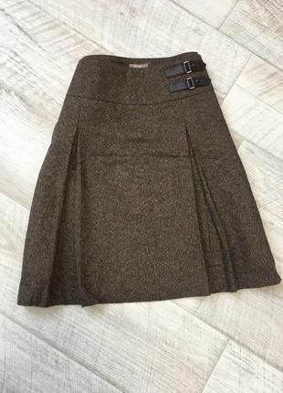 Коричневая твидовая юбка трапеция шерсть