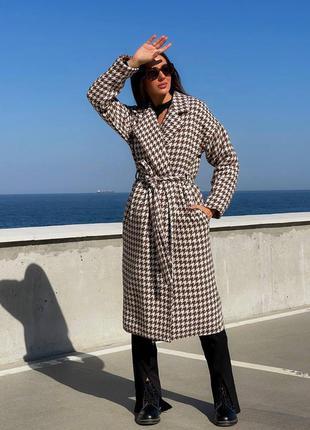 Женское шерстяное пальто гусинная лапка