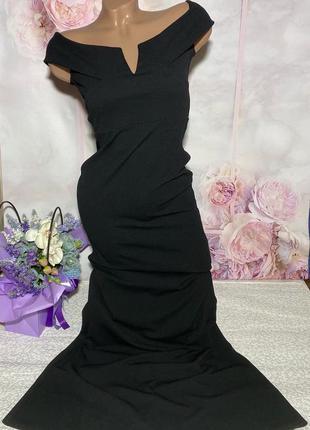 Чёрное платье рыбка вечернее