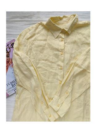 Жёлтая желтая лимонная рубашка льняная льняна сорочка блуза блузка benetton