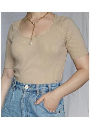 Бежевый хлопковый топ в рубчик h&m майка футболка