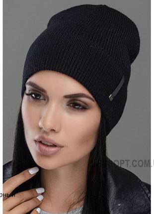 Стильна шапка з шерсті на флісі