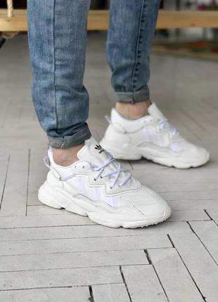 Мужские белые кожаные кроссовки на осень adidas ozweego🆕адидас озвиго