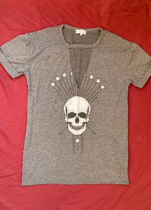 Платье-футболка с черепом, оверсайз