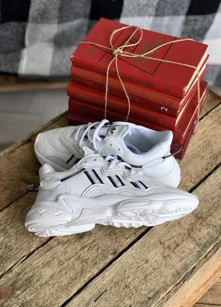 Женские черно-белые кожаные кроссовки на осень adidas ozweego🆕адидас озвиго