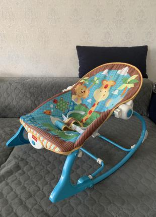 Кресло качалка шезлонг детский fisher price, укачивающий центр