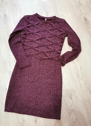 Женское красивое ангоровое бордовое платье