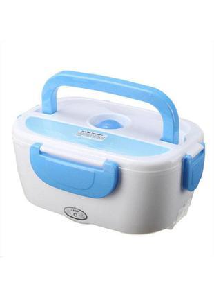 Ланч бокс електричний з підігрівом від прикурювача electronic lunchbox біло-синій 70429