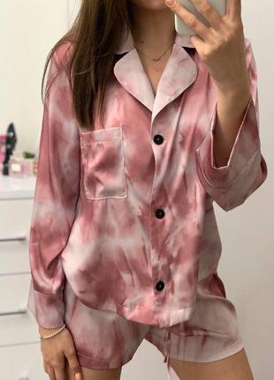 Шёлк армани пижама для дома шорты рубашка